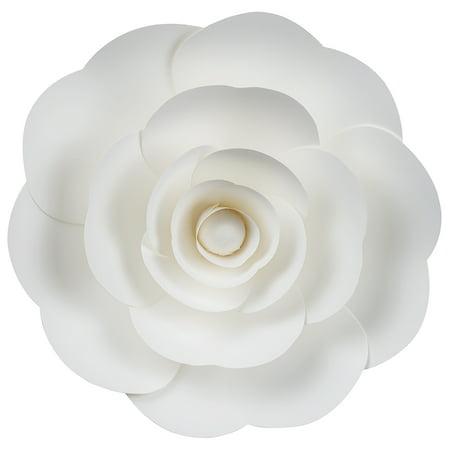 "Quasimoon Large 12"" Pre-Made White Ranunculus Paper Flower Wedding Backdrop Wall Decor, 3D DIY Premium by PaperLanternStore"