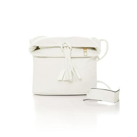 Women Zip Closure Magnetic Snap Buttons PU Crossbody Bag