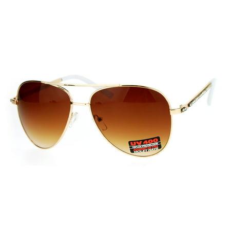 Diva Accessories - SA106 Rhinestone Iced Out Arm Diva Metal Aviator Sunglasses Gold White