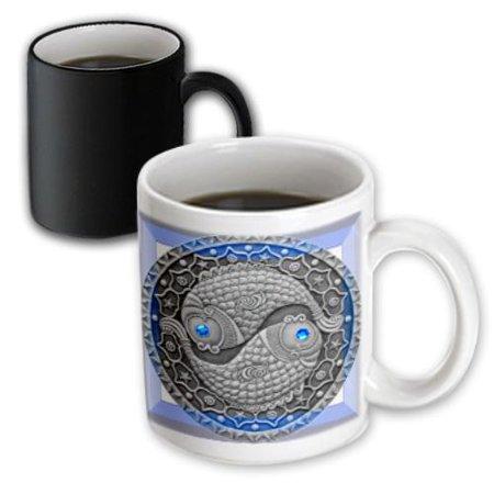 3dRose Zodiac Series Pisces Metal Look Art, Magic Transforming Mug, 11oz Pisces Zodiac Mug