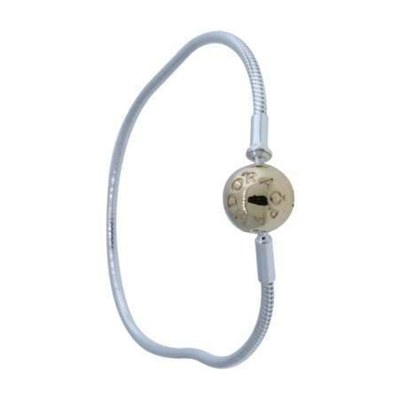 Authentic 596003-20 Silver & 14k Gold Essence Collection Charm Bracelet 7.9