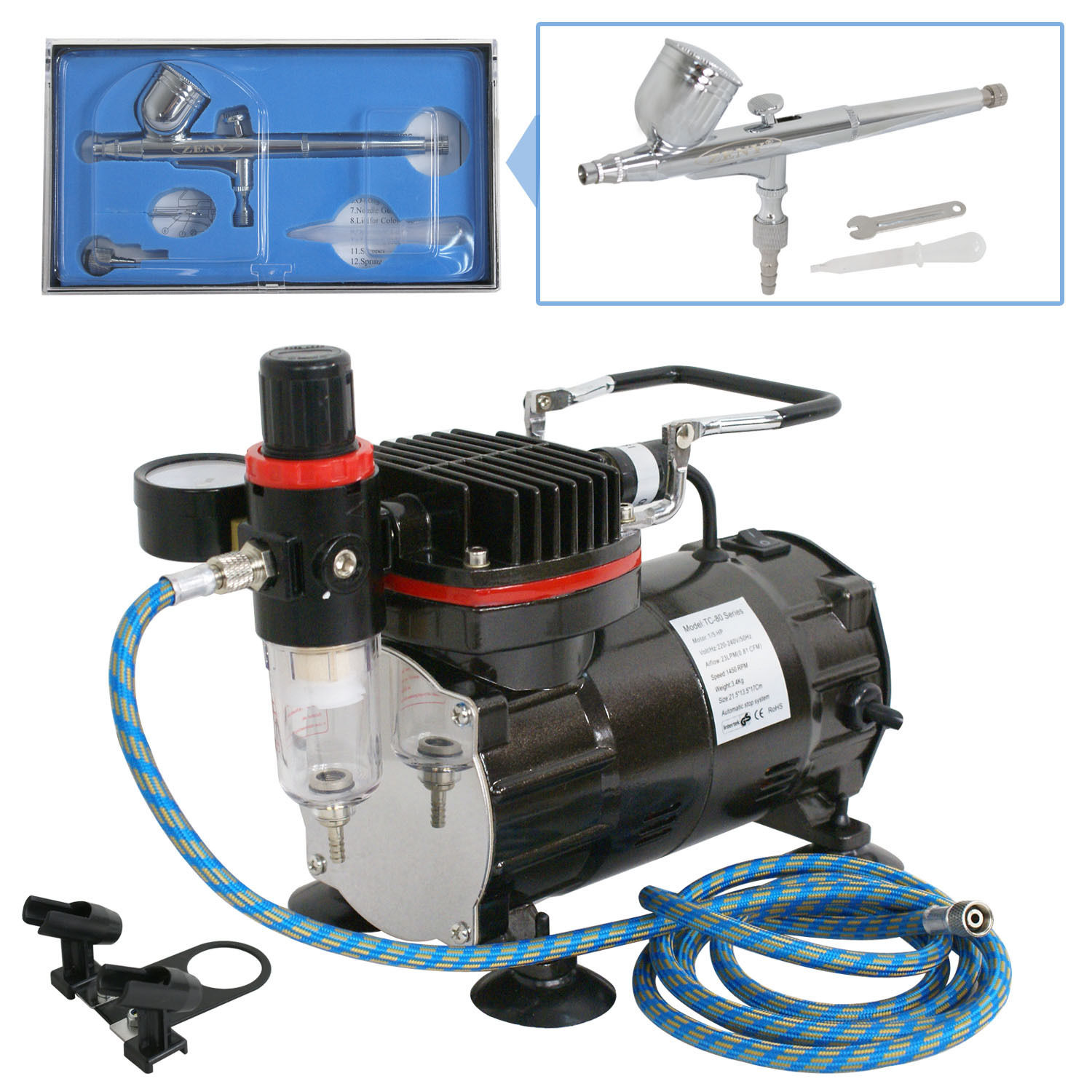 Zeny New Beginner Dual-Action AIRBRUSH AIR COMPRESSOR KIT SET Craft Cake Hobby Paint