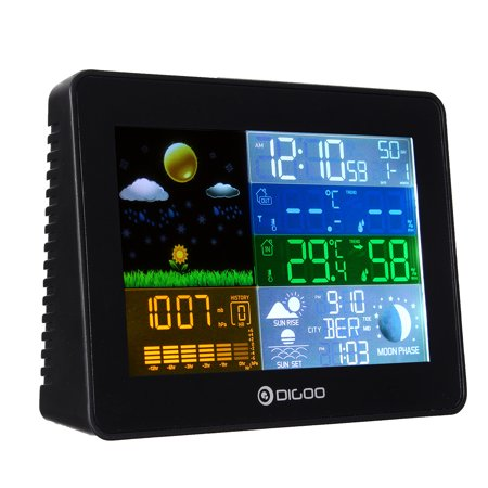 Digoo Wireless Weather Station LED Screen Wireless Weather Forecast Station  Back-light Time Date Display Humidity Temperature Meter Monitor