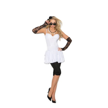 Womens Rockstar Costume (Rock Star - 6 pc costume includes dress, leggings, lace gloves, pearl necklace, hair piece and sunglasses - Color - White - Size -)