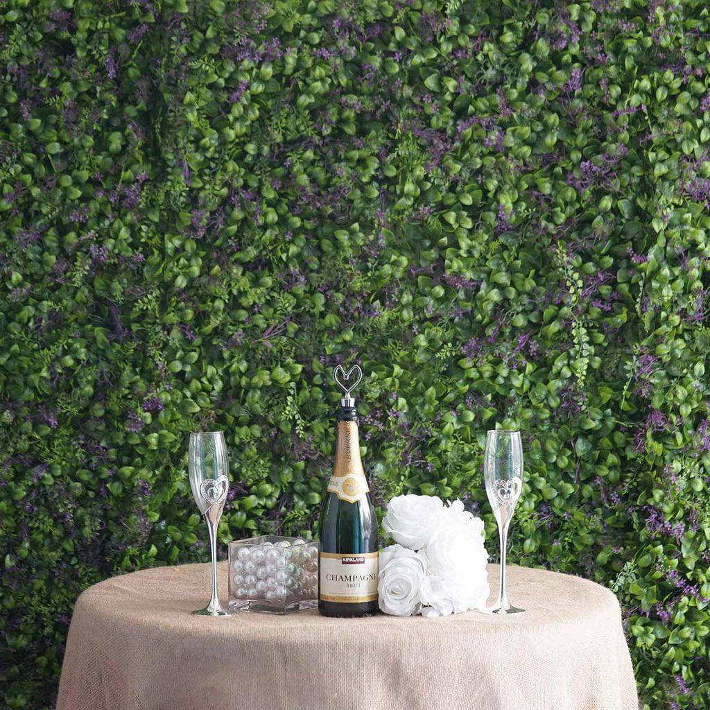 Efavormart 4 Pack 11 Sq ft. Artificial Boxwood Hedge Faux Foliage Green Fern Flower Garden Wall Mat - Purple/Green