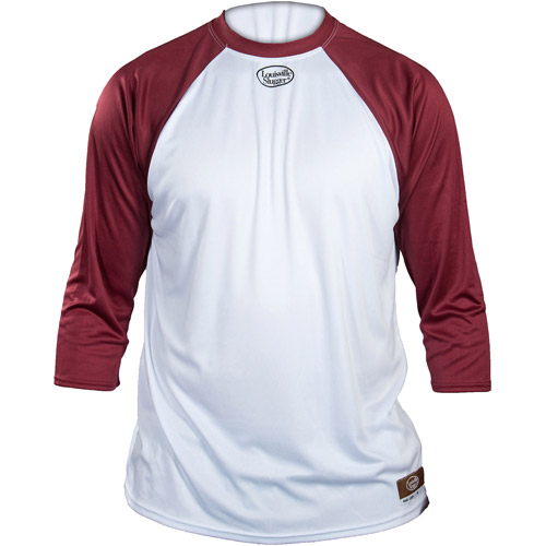 Louisville Slugger Adult Slugger Loose Fit 3/4-Sleeve Shirt, White/Maroon