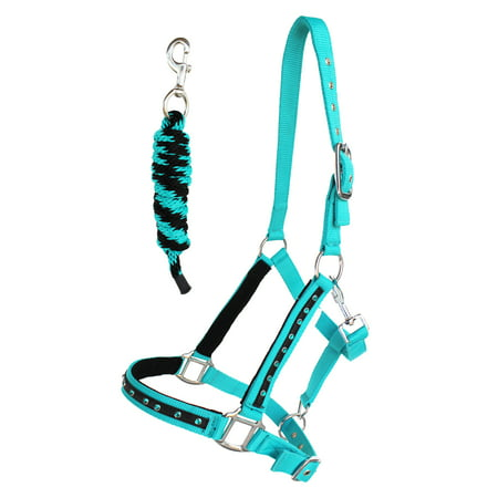 Nylon Horse HALTER Lead Rope Noseband Tack Teal Average Size 606122 Riding Rope Halter