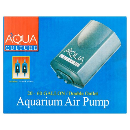 2 Pack Aquarium Air Pump - Aqua Culture 20-60-Gallon Double Outlet Aquarium Air Pump