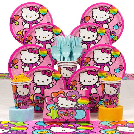 Hello Kitty Rainbow Deluxe Kit (Serves 8) - Party Supplies](Hello Kitty Cookie Cake)