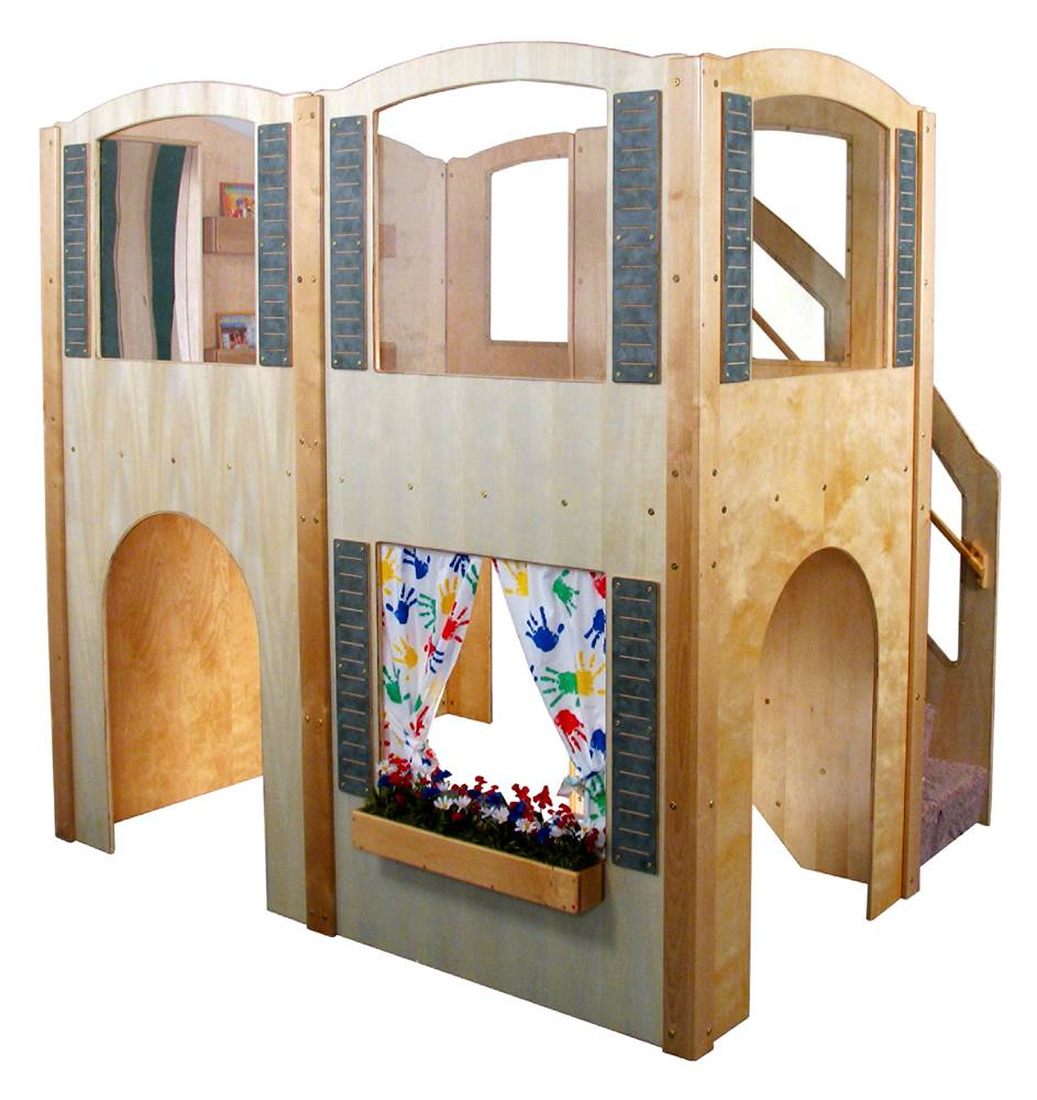 Mainstream Explorer 35 Preschool Wave Loft w Steps on Right (Beige)