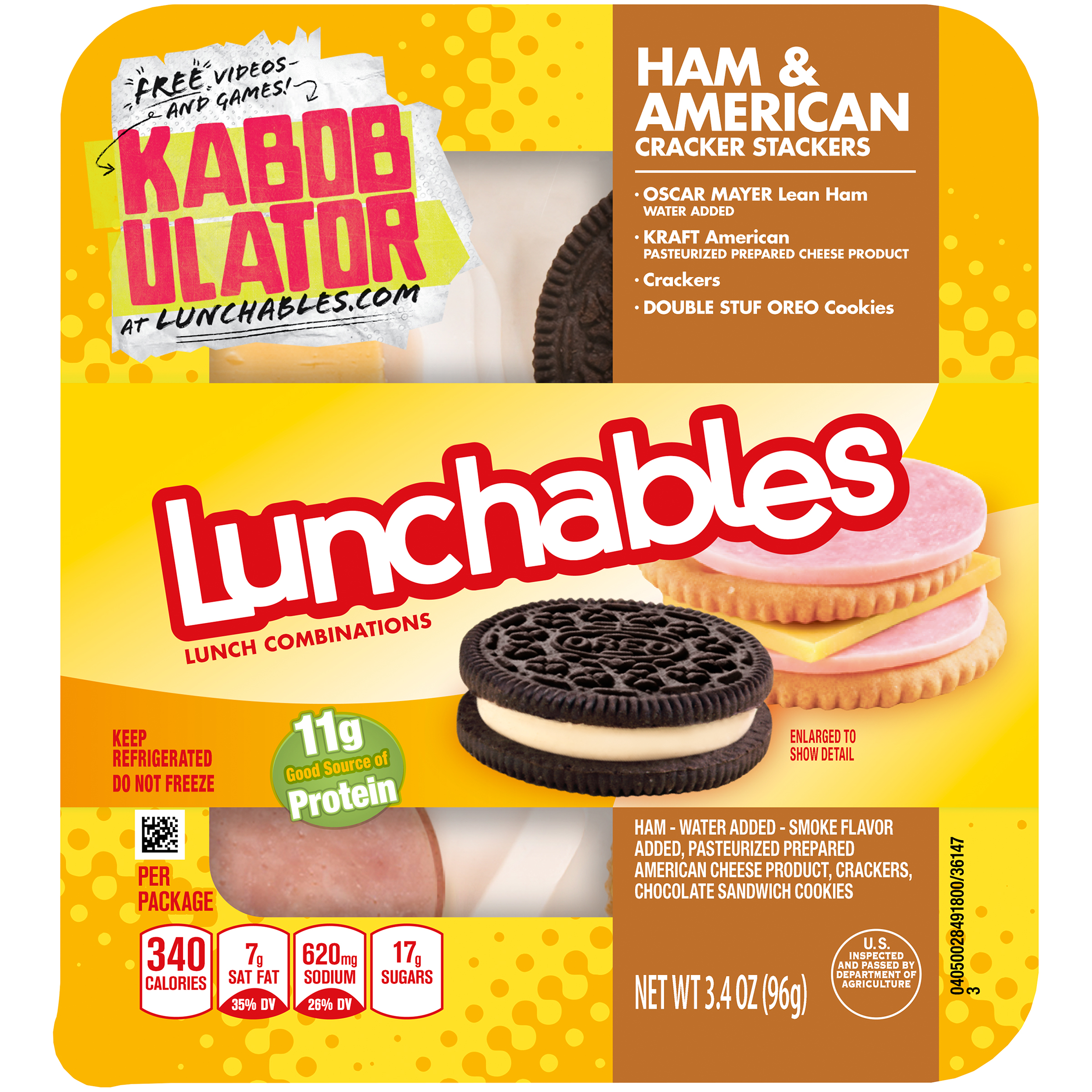Lunchables Ham & American Cracker Stackers, 3.4 oz