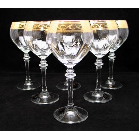 """""""Cristalleria Fratelli Fumo"""" Stemmed Crystal Water Wine Beverage Glasses 10 Oz. 24 Karat Gold Rimmed Accent Hand Made in Italy SET OF 6"""