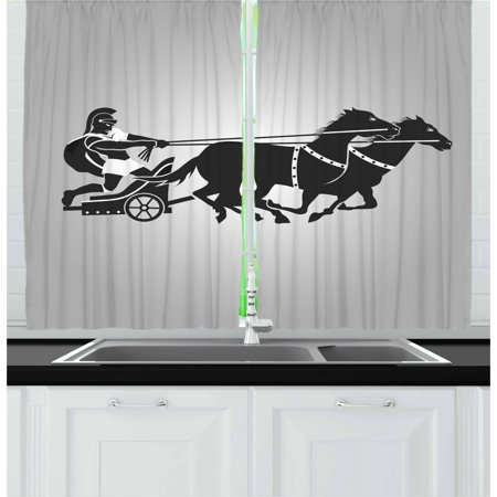 Toga Party Curtains 2 Panels Set, Mythological Chariot Gladiator with Horse Traditional Greek Culture Image, Window Drapes for Living Room Bedroom, 55W X 39L Inches, Dimgrey Black, by Ambesonne
