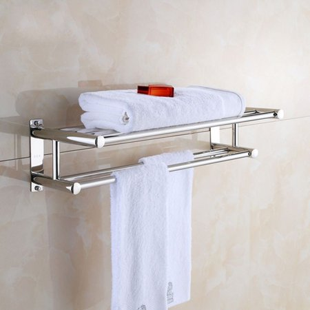 YOSOO Stainless Steel Towel Rack Luxury Solid Polished Chrome Towel Rack Towel Wall Shelf (Stainless Steel Towel Shelf)