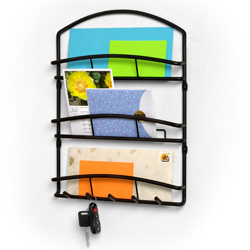 Spectrum Diversified Euro Wall Mount Letter Holder in Black