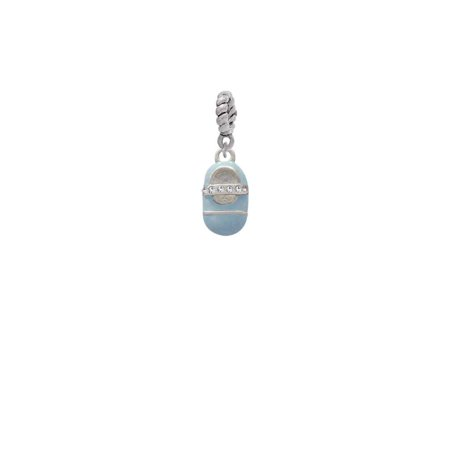 Silvertone Light Blue Baby Shoe with Crystal Strap - Rope Charm