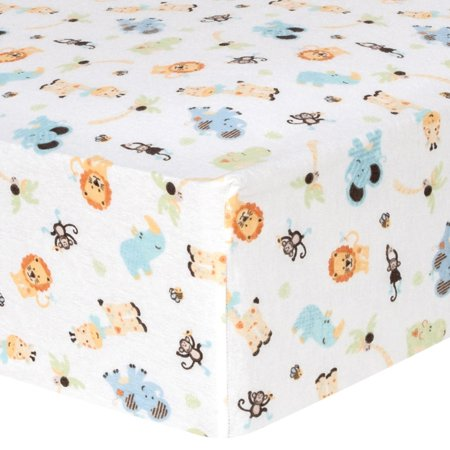 Jungle Friends Deluxe Flannel Fitted Crib Sheet