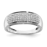 925 Sterling Silver Five Row Diamond Wedding Ring Band Size 8.00