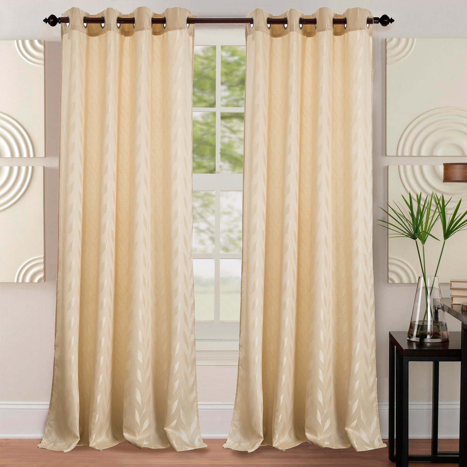 Napa Jacquard 54 x 84 in. Grommet Curtain Panel, Beige