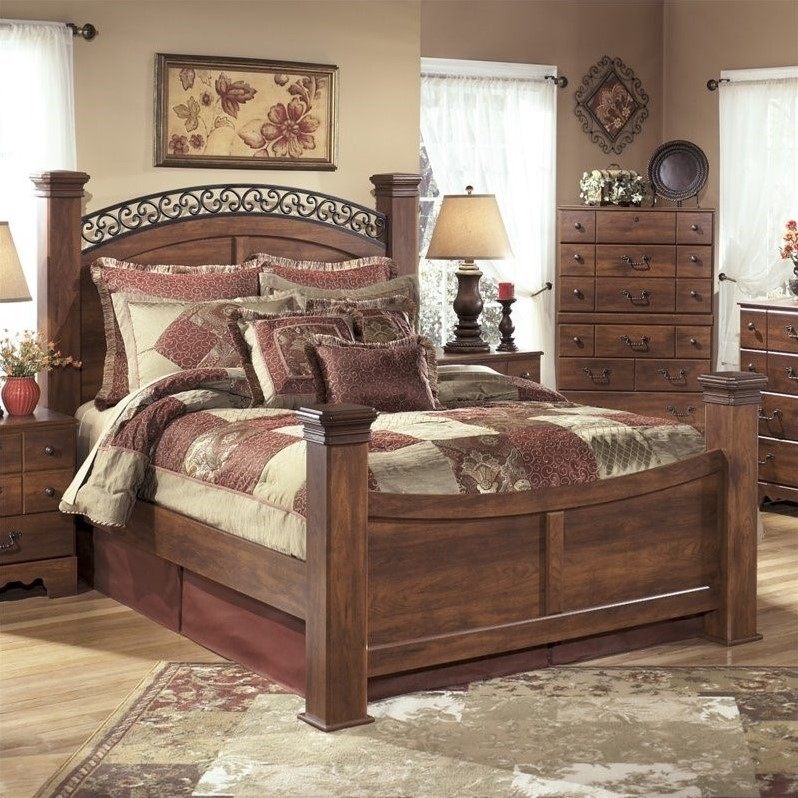 Ashley Timberline Wood King Poster Panel Bed in Warm Brown