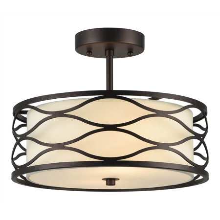 CHLOE Lighting GWEN Transitional 2 Light Rubbed Bronze Semi-flush Ceiling Fixture 13