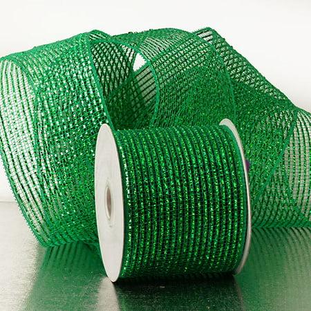 Emerald Green 4 inch x 20 yards Metallic Thread Striped Deco Mesh Wreath Decorative Ribbon