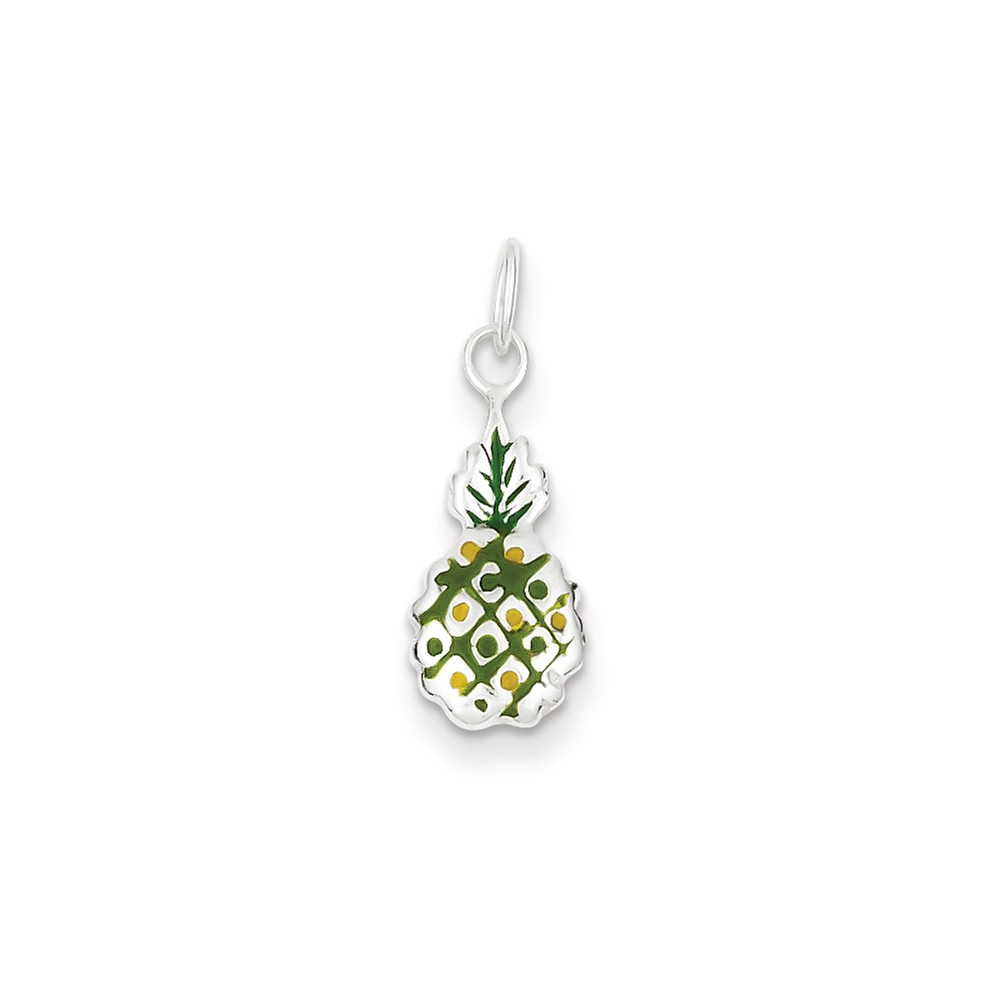 Sterling Silver Enameled Pineapple Charm (0.8in)