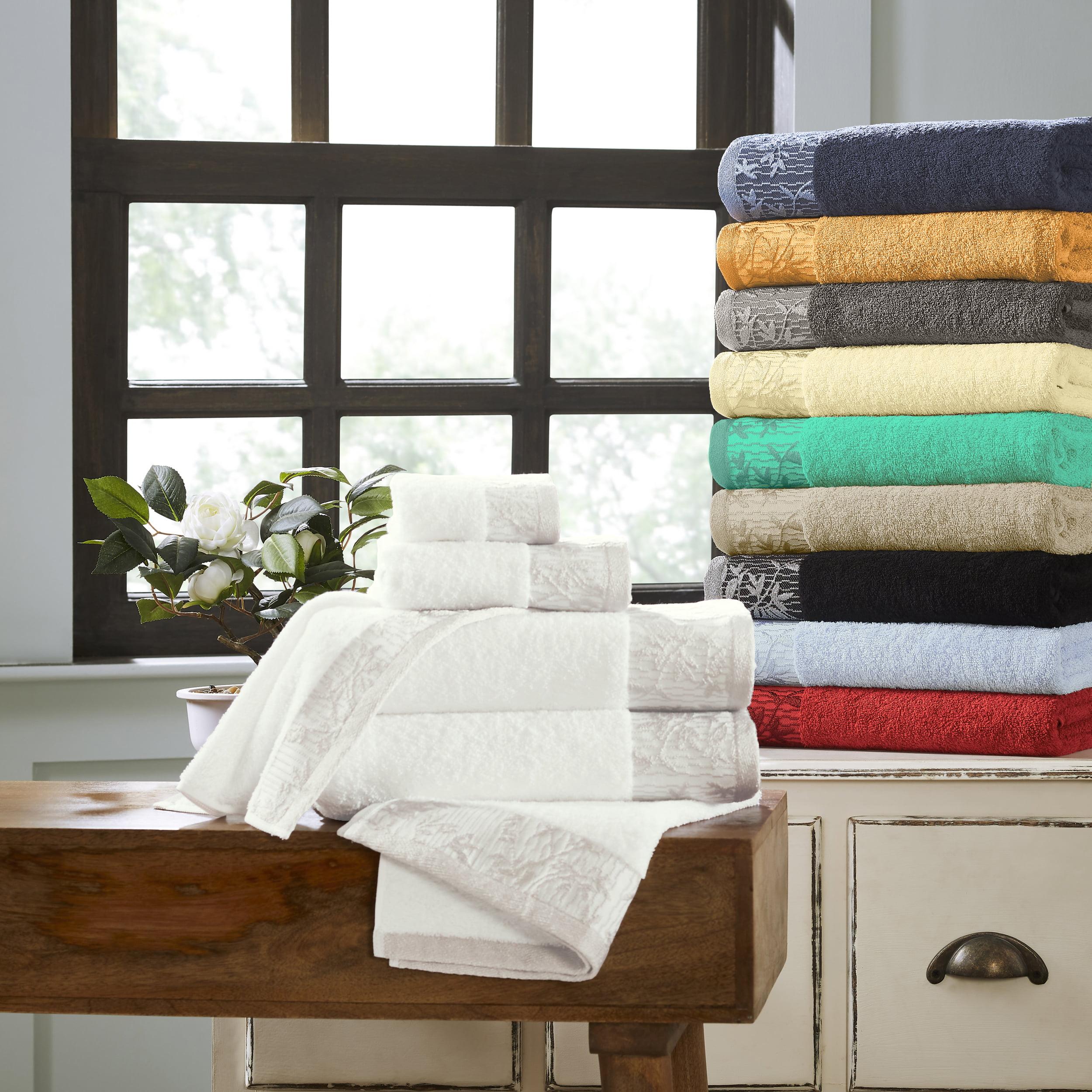 6 Piece Black Superior Wisteria 100/% Cotton Towel Set