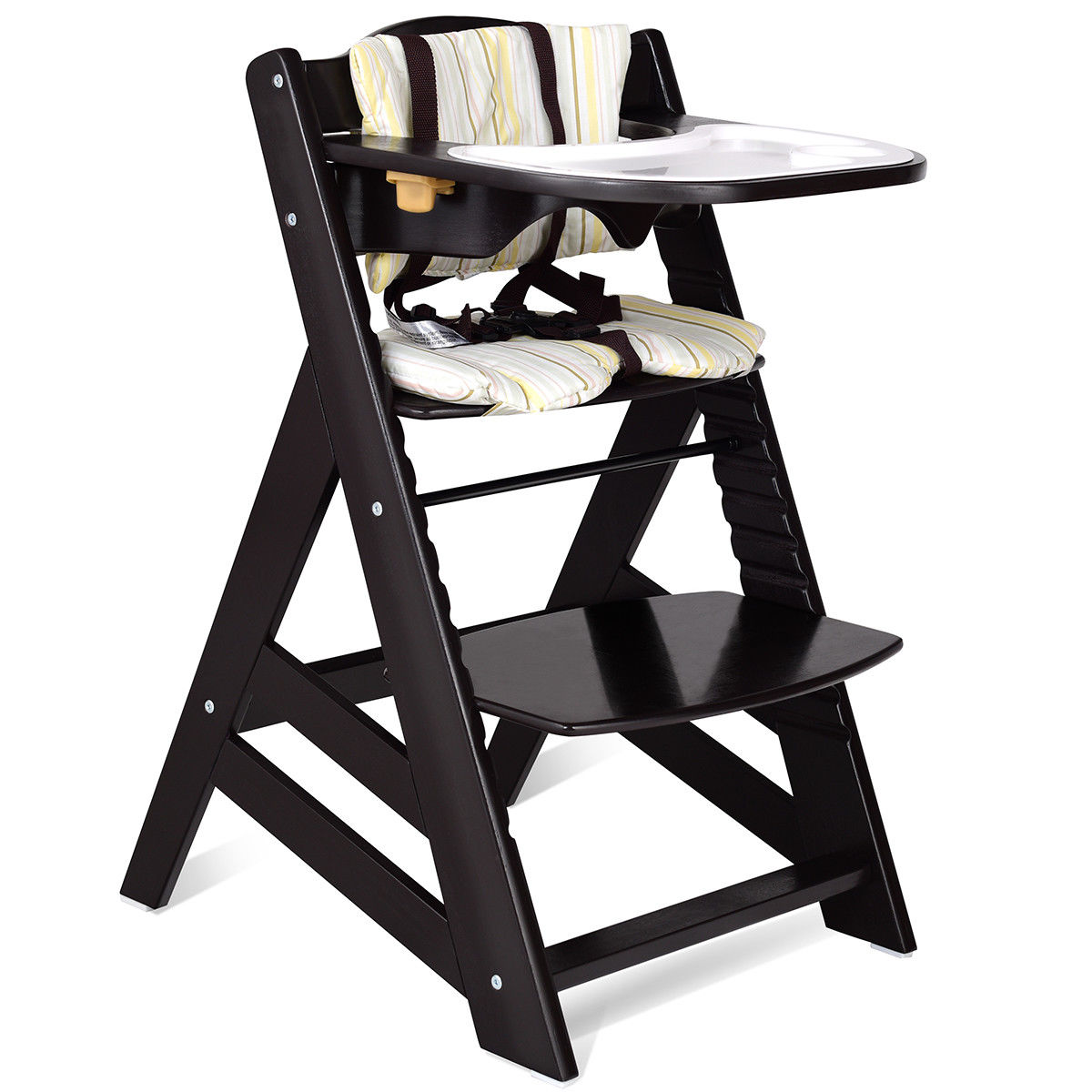 Costway Baby Toddler Wooden Highchair Dining Chair Adjustable Height
