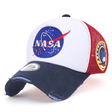 4ddeff91c10 ililily NASA Meatball Logo Embroidery Baseball Cap Apollo 1 Patch Trucker  Hat