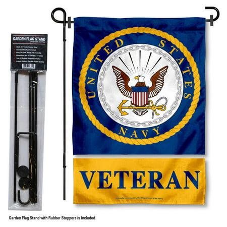 US Navy Veteran Garden Flag and Flag Holder Set (Garden Flag Holder)