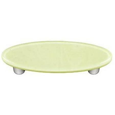 - Hot Knobs HK1039-POA French Vanilla Oval Glass Cabinet Pull - Aluminum Post