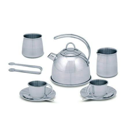 Melissa & Doug Stainless Steel Pretend Play Tea Set and Storage Rack for Kids (11 pcs) (Girls Tea Party)