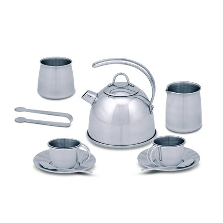 Melissa & Doug Stainless Steel Pretend Play Tea Set and Storage Rack for Kids (11 pcs) (Halloween Tea Set)