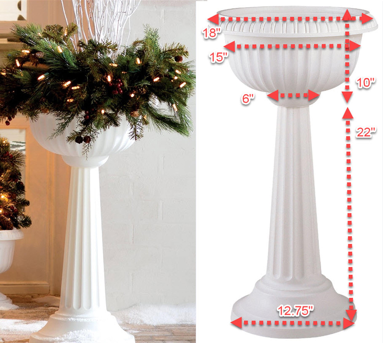 "Bloem Grecian Urn Pedestal Planter 18"" White by Bloem"