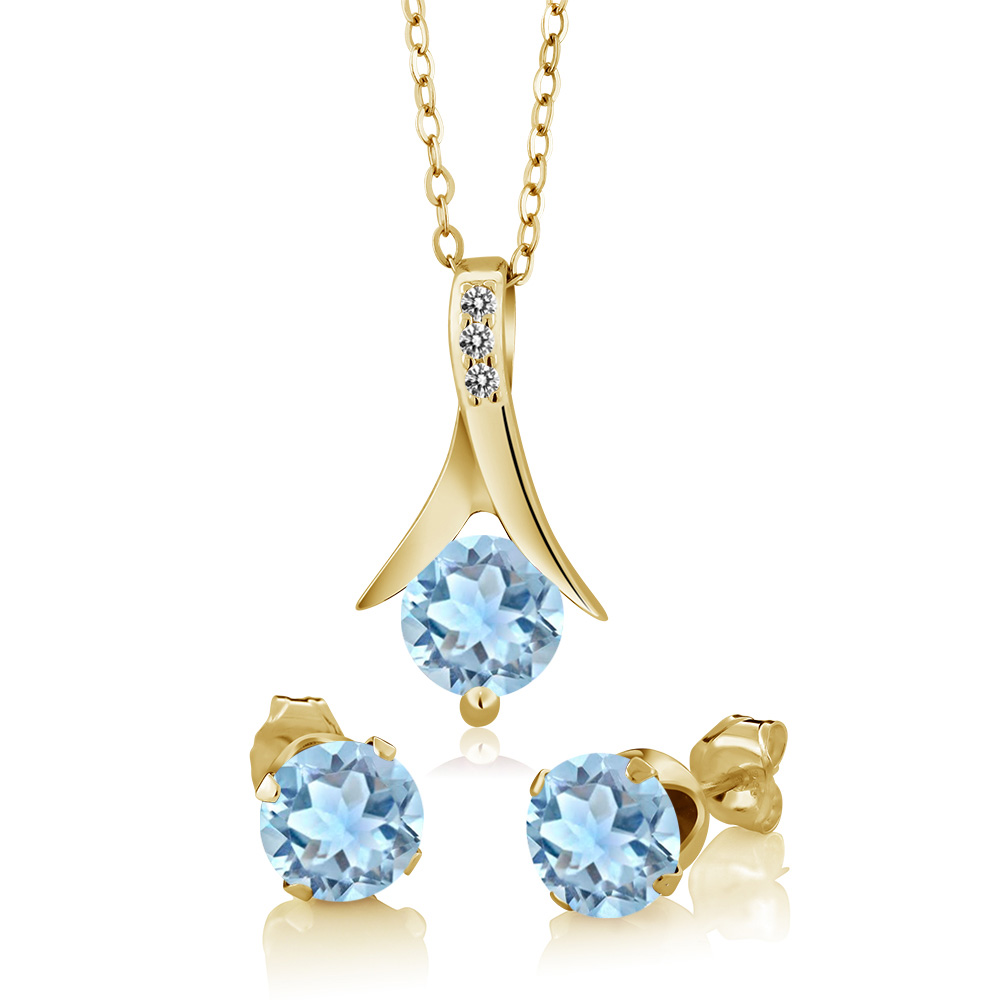 2.30 Ct Sky Aquamarine White Diamond 18K Yellow Gold Plated Silver Jewelry Set by