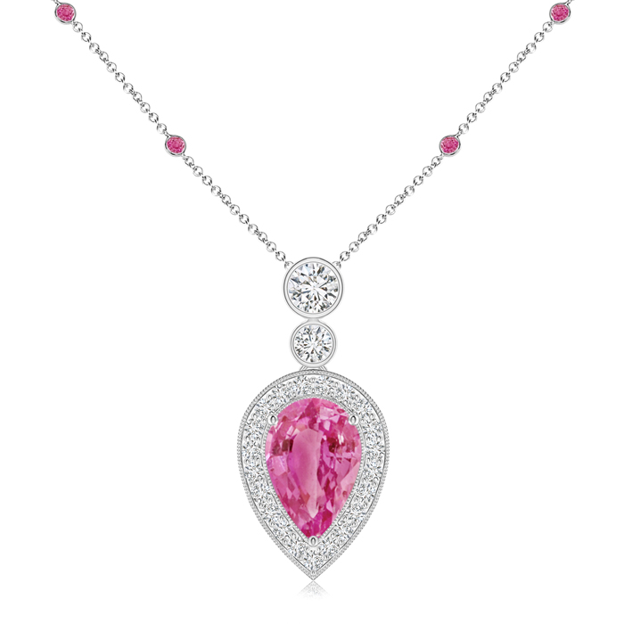 September Birthstone Pendant Necklaces Pear Pink Sapphire Necklace Pendant with Diamond Halo in 950 Platinum (9x6mm Pink... by Angara.com
