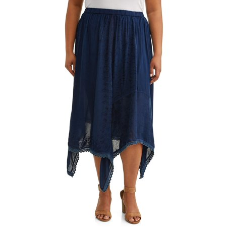 Women's Plus Size Midi Skirt with Sharkbite Hem and Lace Detail