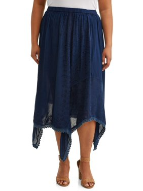 fc07200dda8ea Product Image Women's Plus Size Midi Skirt with Sharkbite Hem and Lace  Detail