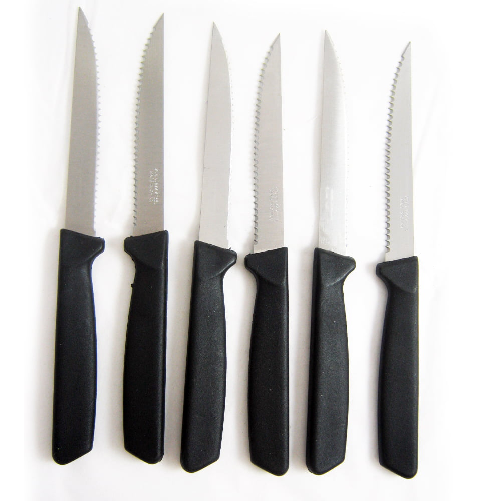 Click here to buy 6 Steak Knife Set Stainless Steel Utility Knives Steakhouse Cutlery Serrated New by 4SGM.