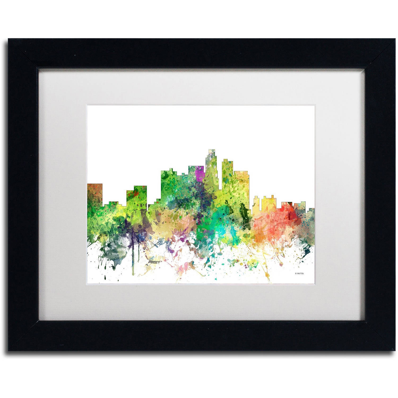 "Trademark Fine Art ""Los Angeles California Skyline SP"" Canvas Art by Marlene Watson, White Matte, Black Frame"