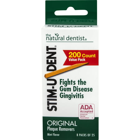 - Stim-U-Dent Original Plaque Removers, Mint, 8 packs of 25 picks each