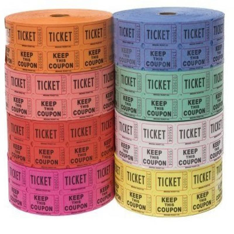 Indiana Ticket Company Raffle Tickets - (4 Rolls of 2000 Double Tickets) 8,000 Total 50/50 Raffle Tickets (4 Assorted Colors)