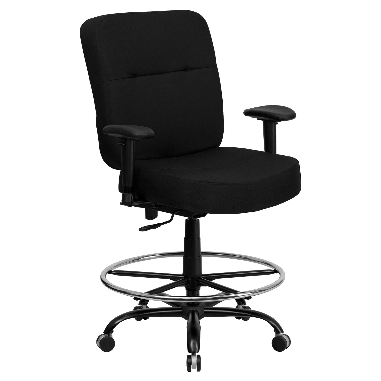 Flash Furniture Hercules Series Big and Tall Fabric Drafting Office Stool, Black