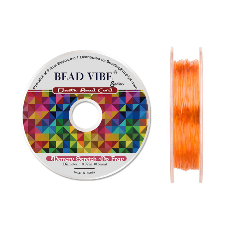 Elastic Bead Cord, Beadvibe Series Memory Stretch Non Fray, Orange 0.5mm Diameter 82ft