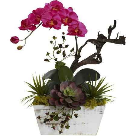 Nearly Natural Orchid and Succulent Garden with White Wash Planter