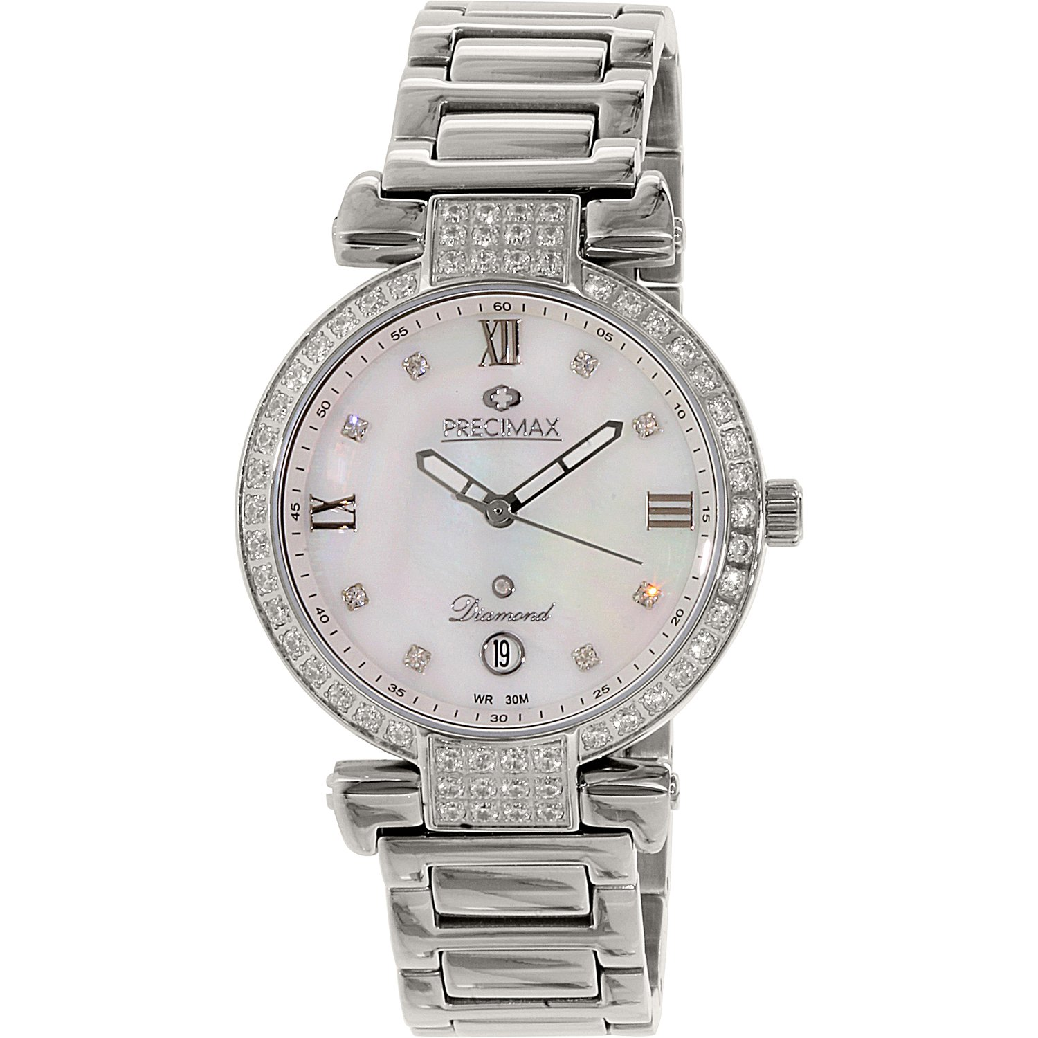 Precimax Women's Siren Diamond PX13332 Silver Stainless-Steel Plated Japanese Quartz Dress Watch