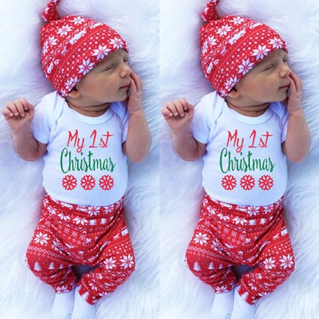 8a2255ced Canis - Newborn Baby Boys Girls Tops Romper Pants Hat 3PCS Outfits Set Christmas  Clothes - Walmart.com