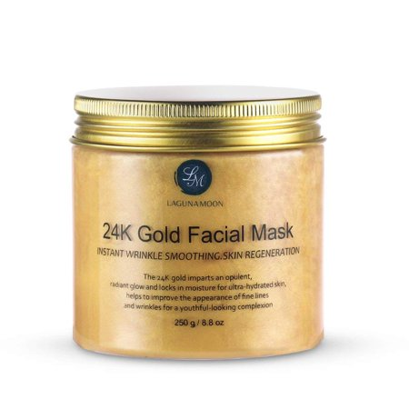 Lagunamoon 24K Gold Facial Mask 8.8 oz Gold Face Mask for Anti Aging Anti Wrinkle Facial Treatment Pore Minimizer,Acne Scar Treatment & Blackhead Remover 250g,Brighten The Skin
