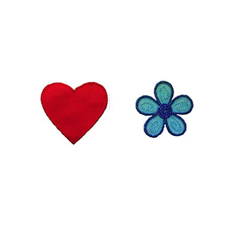 Altotux Red Heart and Blue Embroidered Organza Daisy Flower Sew On Patch Applique Sewing Notions DIY Craft Supplies ()